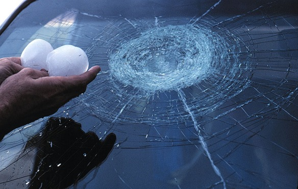 Large hailstone damage