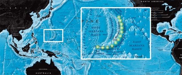 Location of mariana trench map