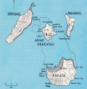 krakatoa - krakatau volcano map