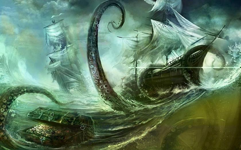 Kraken attacking boat