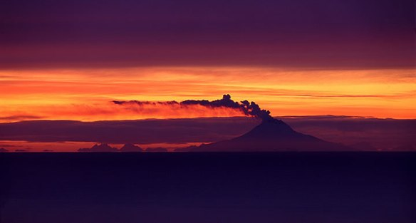 Augustine volcano at sunset