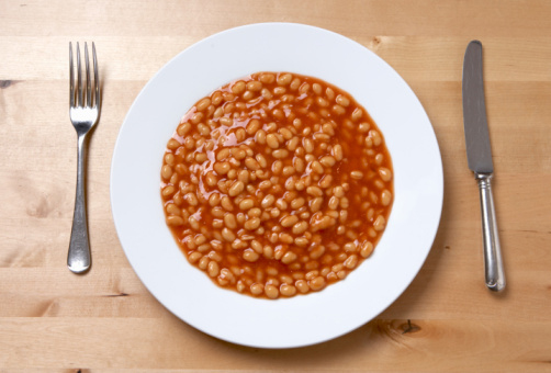 Plate of baked beans