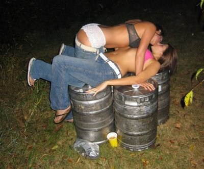 Two drunk girls making out