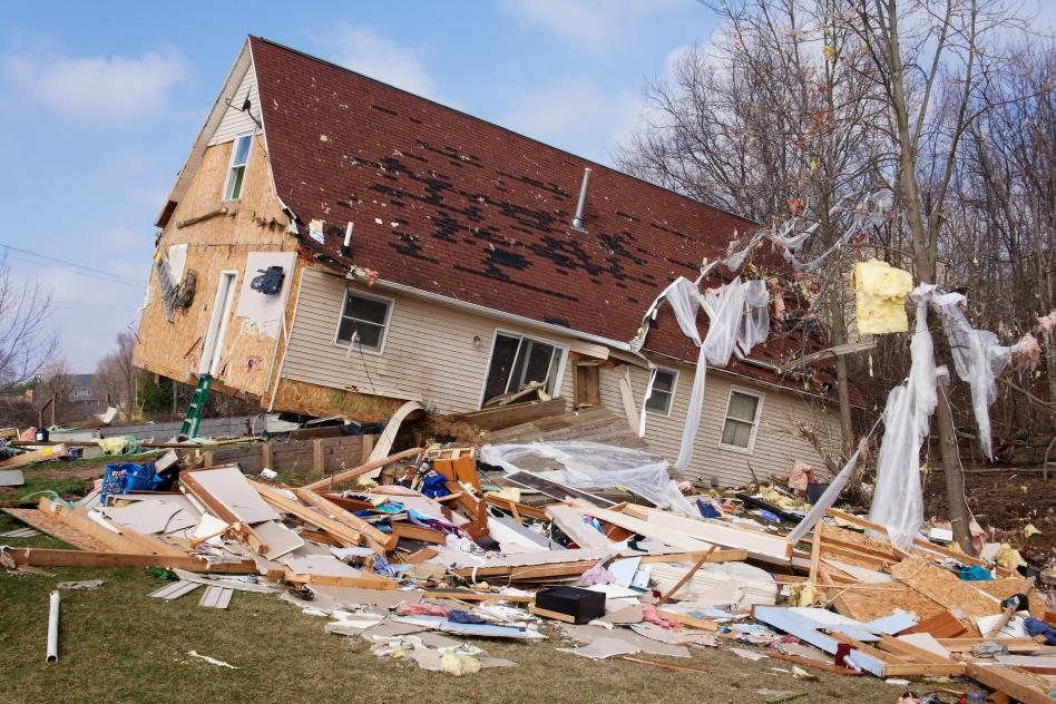 Tornado damage in Lapeer, Michigan.